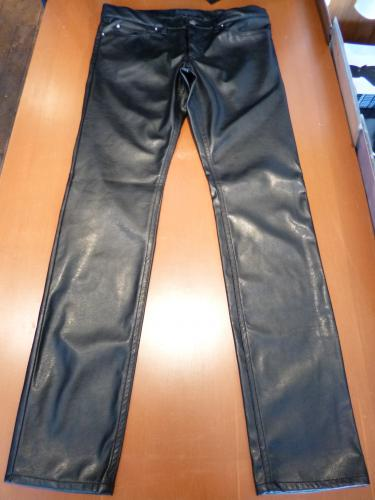 666 FAUX STRETCH LEATHER JEANS/32""