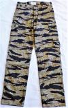 01EA THE CLASH TYPE GOLD TIGER STRIPE PANTS/S,M-SIZE